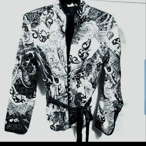 MSK Black White Paisley Blazer Size Medium